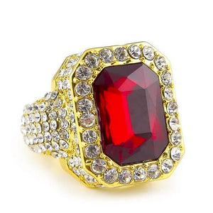 Iced out Ruby Ring - 7 / gold and red