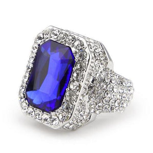 Iced out Ruby Ring - 7 / silver and blue