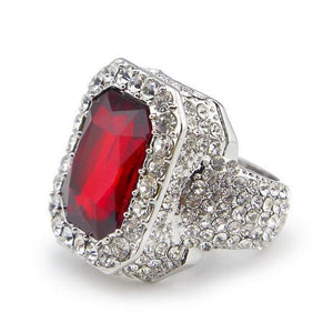 Iced out Ruby Ring - 7 / silver and red