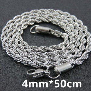 Multi Colored Rope Chains - 4mm 50cm Steel Color