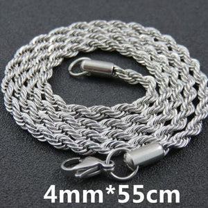 Multi Colored Rope Chains - 4mm 55cm Steel Color