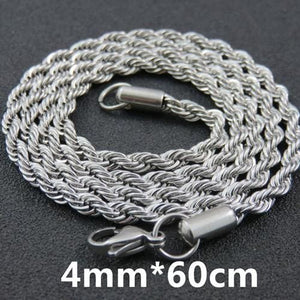 Multi Colored Rope Chains - 4mm 60cm Steel Color