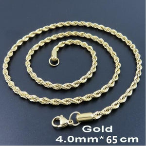 Multi Colored Rope Chains - 4mm 65cm Gold Color