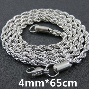 Multi Colored Rope Chains - 4mm 65cm Steel Color