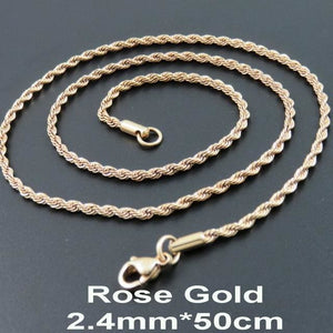 Multi Colored Rope Chains - Rose Gold 50cm
