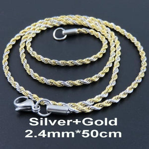 Multi Colored Rope Chains - Silver and Gold 50cm