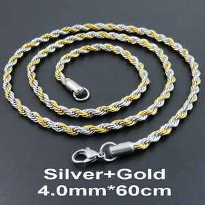 Multi Colored Rope Chains - Silver and Gold 60cm