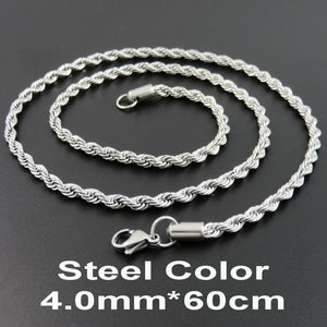 Multi Colored Rope Chains - Steel Color 60cm