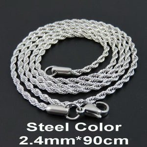Multi Colored Rope Chains - Steel Color 90cm