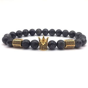 Royal Marble Bracelets - brown beads gold crown