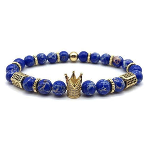 Royal Marble Bracelets - gold crown blue beads