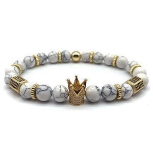 Royal Marble Bracelets - gold crown white beads