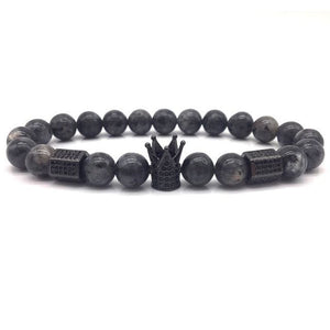 Royal Marble Bracelets - matter gray beads and crown