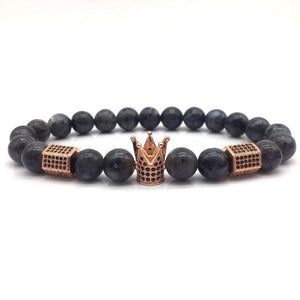 Royal Marble Bracelets - rose gold crown and charcoal beads