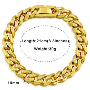 Solid cuban link bracelet - 10mm gold color / 21cm
