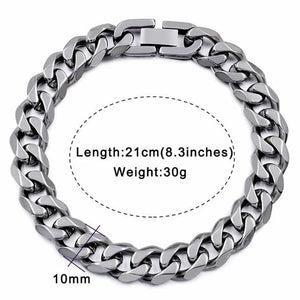 Solid cuban link bracelet - 10mm silver color / 21cm