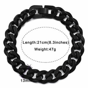 Solid cuban link bracelet - 13mm black color / 21cm