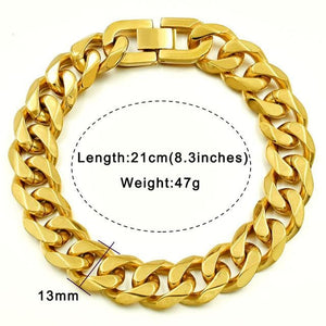 Solid cuban link bracelet - 13mm gold color / 21cm