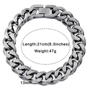 Solid cuban link bracelet - 13mm silver color / 21cm
