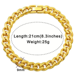 Solid cuban link bracelet - 9mm gold color / 21cm