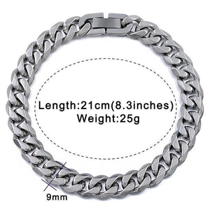 Solid cuban link bracelet - 9mm silver color / 21cm