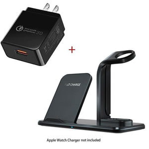 Wireless 3 in 1 Holder Stand Charger - Wireless Charger / Black US Plug