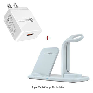 Wireless 3 in 1 Holder Stand Charger - Wireless Charger / White US Plug