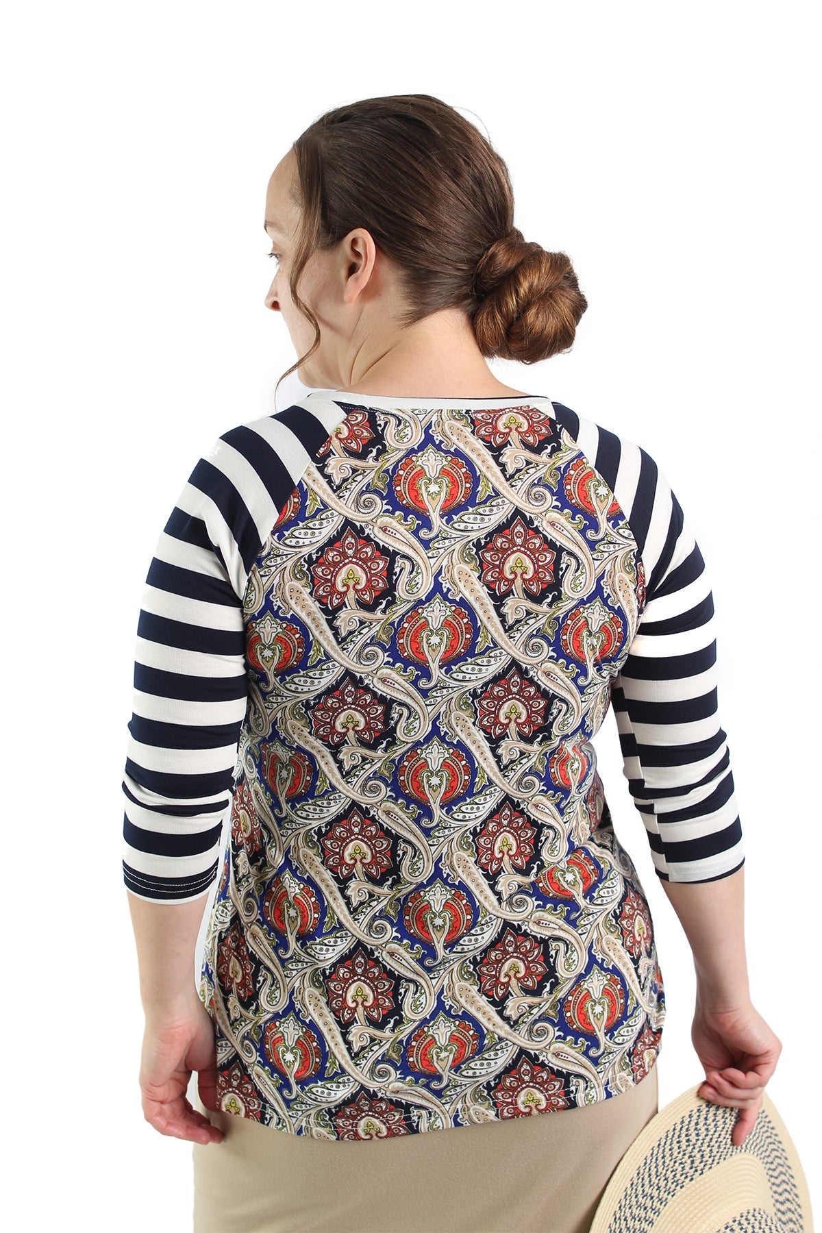modest essential layering tee raglan sleeves navy stripe paisley