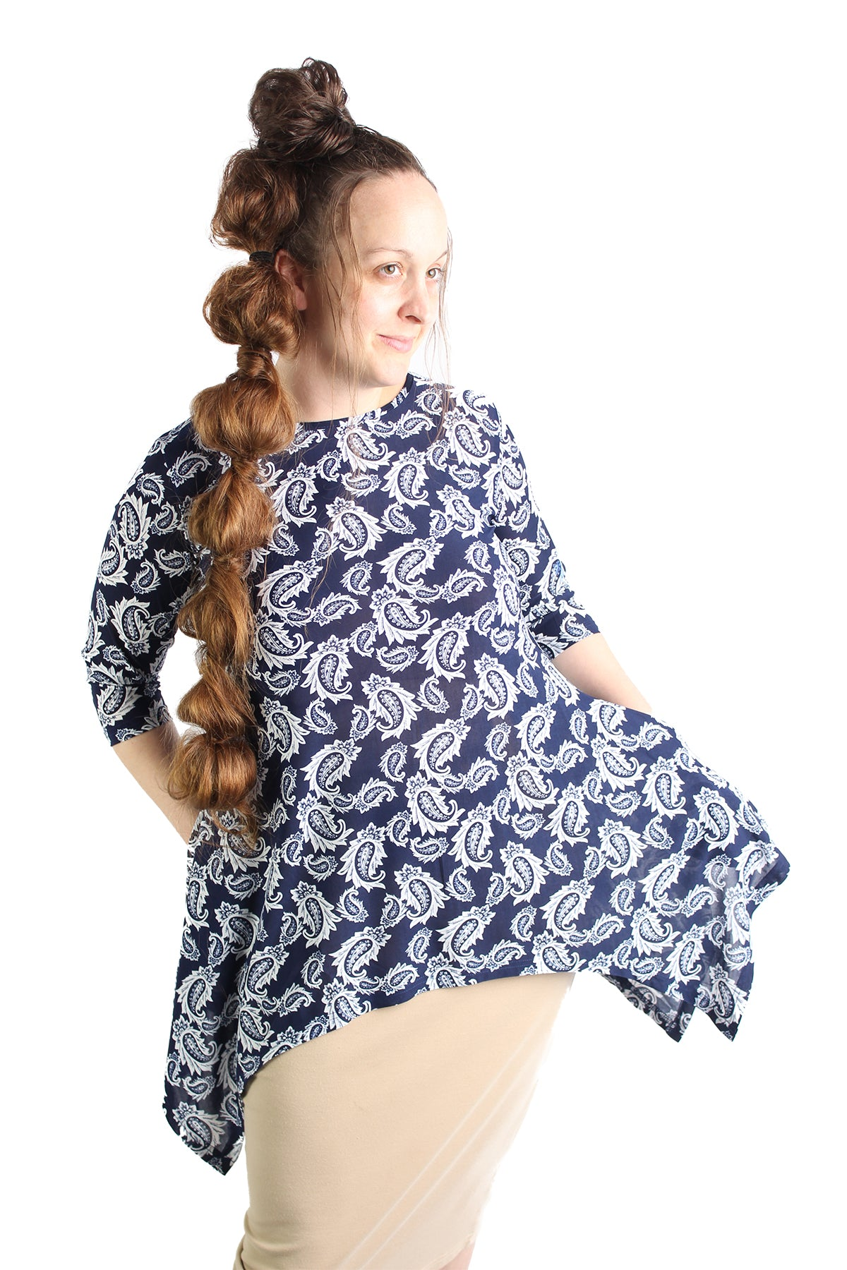 tunic modest navy paisley pockets shirt