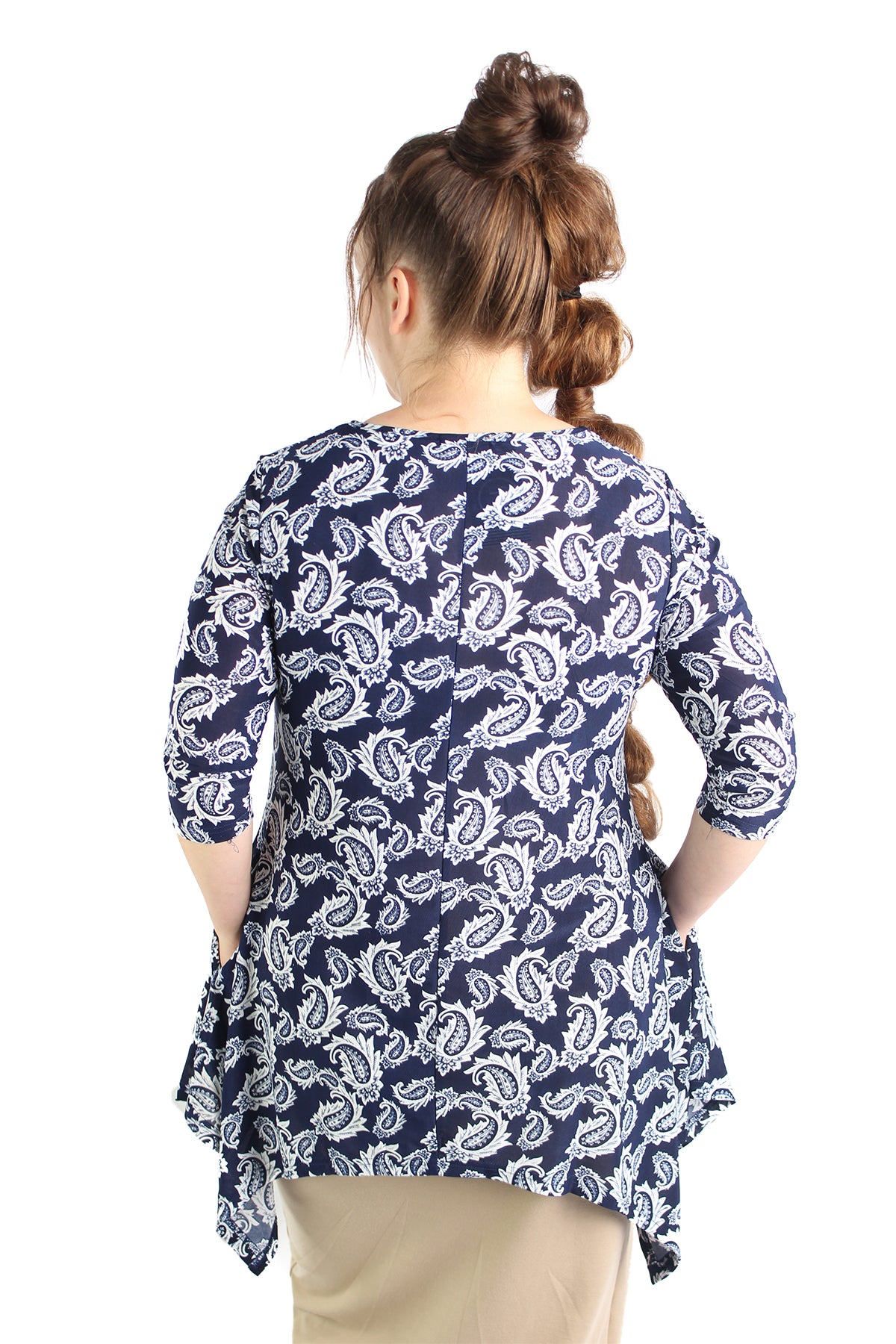 modest tunic shirt pockets navy paisley