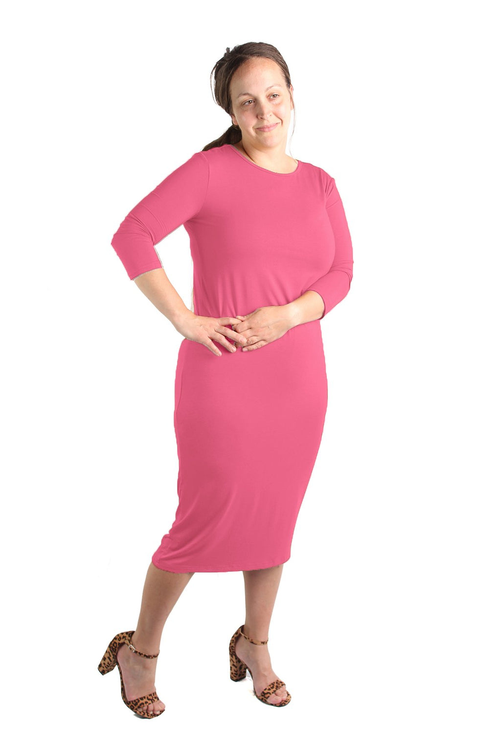 modest essential layering dress pink