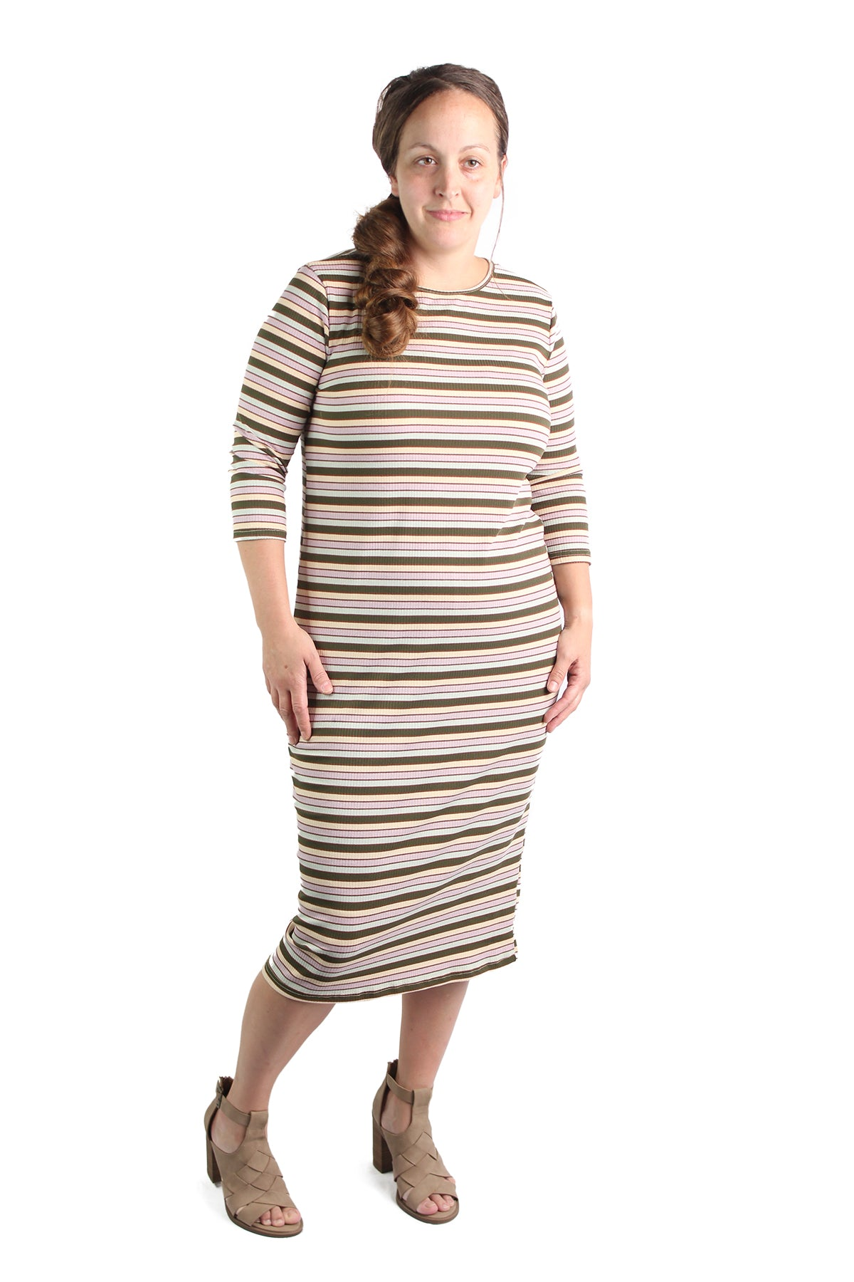modest midi essential layering dress stripe