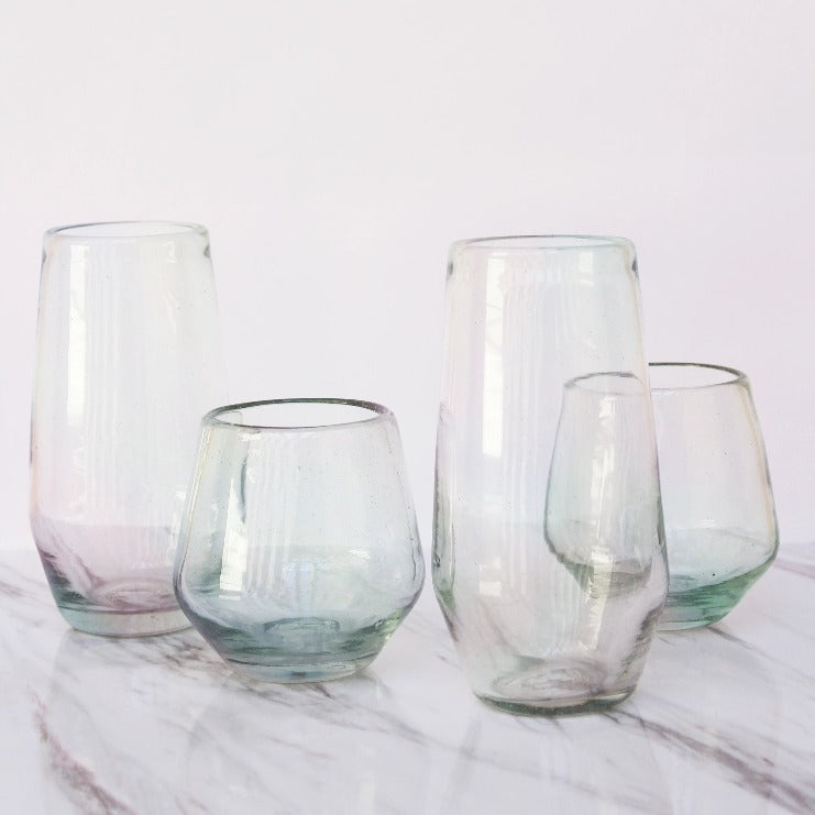 Set 4 Vasos Diamante Bajo Lustre