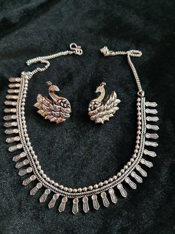 Oxidised Silver Neckalce with Peacock Earrings H.1250.50