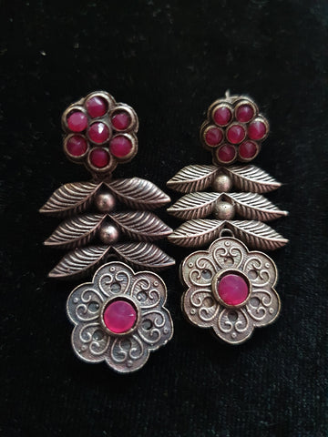 Premium Quality Antique Silver Replica Ruby Stone Flower Earring 500015
