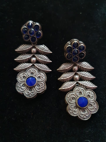Premium Quality Antique Silver Replica Blue Stone Flower Earring 500015