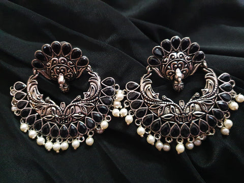 Premium Quality Black Stone Big Jhumka 91409