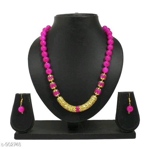 Golden Cap Pearl Necklace Set