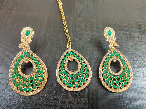 Partwear Earrings with Mangtikka (Green)