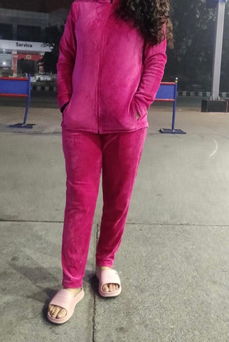 Solid Velvet Women/Girl Track Suit