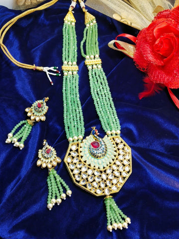 Kundan Peacock Crystal Beads Necklace Pastel Green 93509