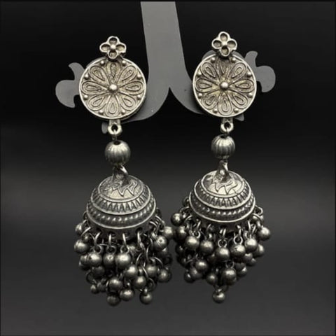 Premium Antique Silver Replica Ghunghru Jhumar Earrings