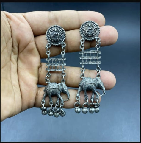 Black Polish Elephant Ghunghru Earrings