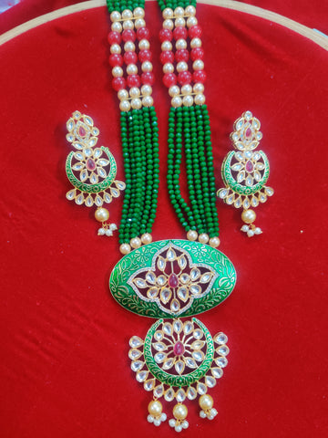 Kundan Meenakari Green Necklace 95009