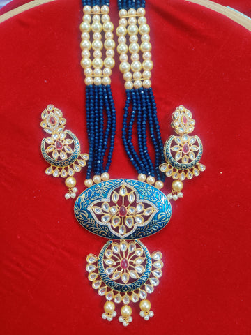 Kundan Meenakari Navy Blue Necklace 95009
