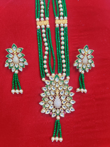 Kundan Diamond Peacock Green Crystal Necklace