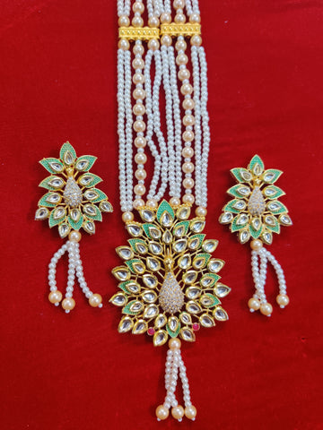 Kundan Diamond Peacock Mint Crystal Necklace