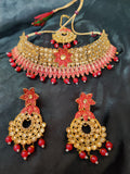 High Quality Meenakari Golden Red Moti Choker Necklace