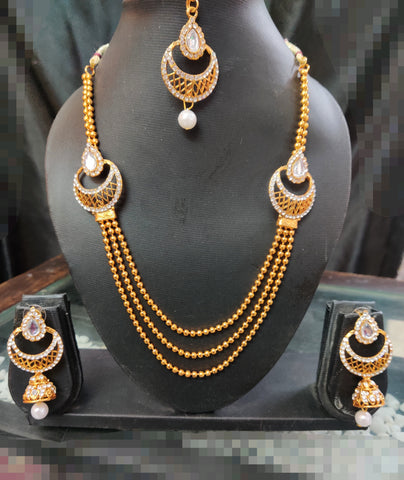 White Stone Moti Dark Golden Layer Necklace Set