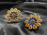 High Quality Gold Plated Coloured Stone Big Stud Earrings